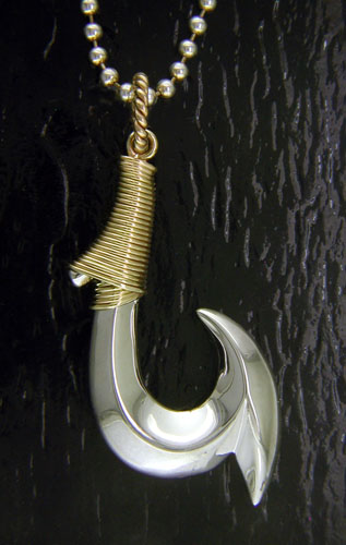 Charm - 14K/ Sterling Silver Wrapped Fish Hook Pendant- Steven Douglas Designs