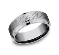 Wedding Band - 8Mm Tantalum Wedding Band Pebble Center