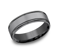Wedding Band - 7Mm Tantalum Wedding Band Satin Center,  Polished Edge
