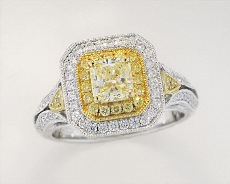 Fashion Ring - Lady's Two-Tone 18 Karat Fashion Ring 1.20Tw Yellow And White Diamonds