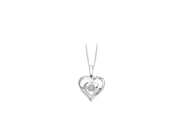 Necklace - S/S  Double Heart Rhythm Of Love Necklace   With 0.02Tw Round Diamonds