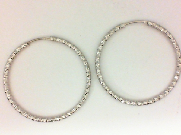 Earrings - Sterling Silver D/C Textured Hoop Earrings