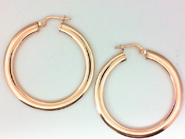 Earrings - Sterling Silver Rose Gold Plated Flat Hoop Earrings