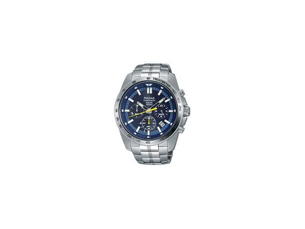 Watch - Mens Silver Pulsar Watch With Blue Face