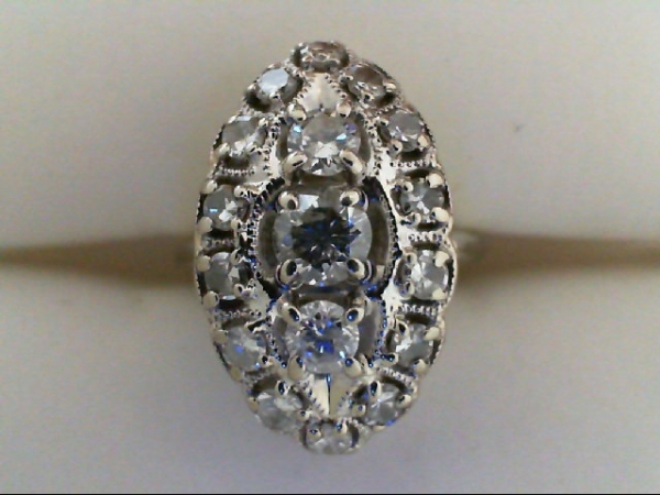 Wedding Band - Diamond Cluster Ring 3/10 tdw 14 karat white