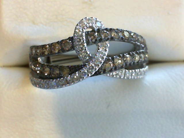 Fashion Ring - LeVian Chocolate & White Diamond Cross Over Twist Band .70 tdw 14 karat white gold