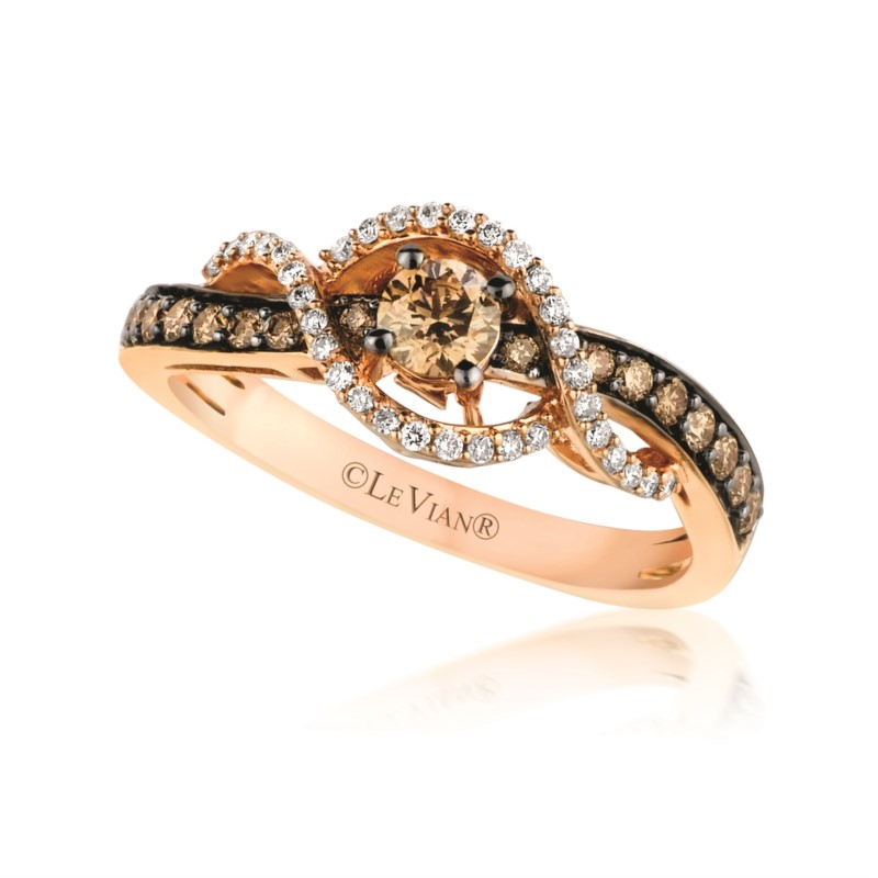 Fashion Ring - LeVian Chocolate & White Diamond Twist Ring 14 karat rose