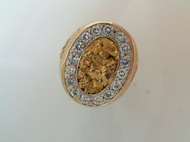 Fashion Ring - Mens Gold Nuggett w/Diamond Halo color H clairty SI1 14 karat yellow w/24 karat nuggett