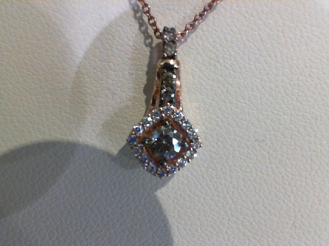Pendant - LeVian Chocolate Diamond Pendant w/Halo 14 karat rose gold
