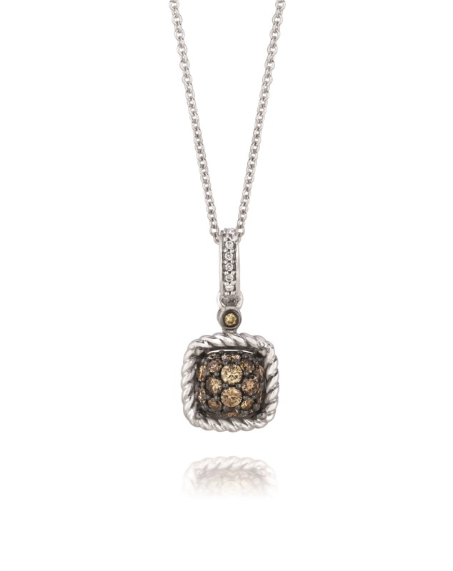 Pendant - Le Vian Chocolate & White Diamond Pendant  .46 tdw 14 karat white