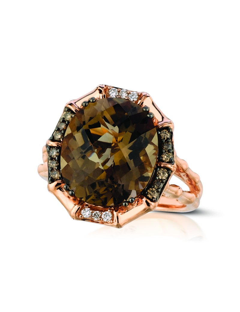 Fashion Ring - LeVian Chocolate Quartz and Chocolate Diamond Ring 14 karat rose gold