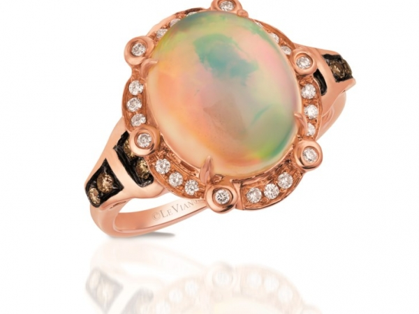 Fashion Ring - LeVian Opal w/Chocolate & White Diamonds .23 ctw 2.80 opal 14 karat rose gold