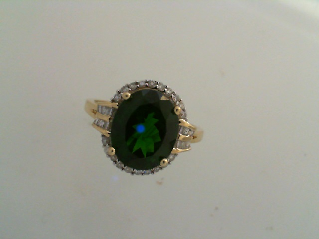Fashion Ring - Green Tourmaline & Diamond Ring 10 karat yellow