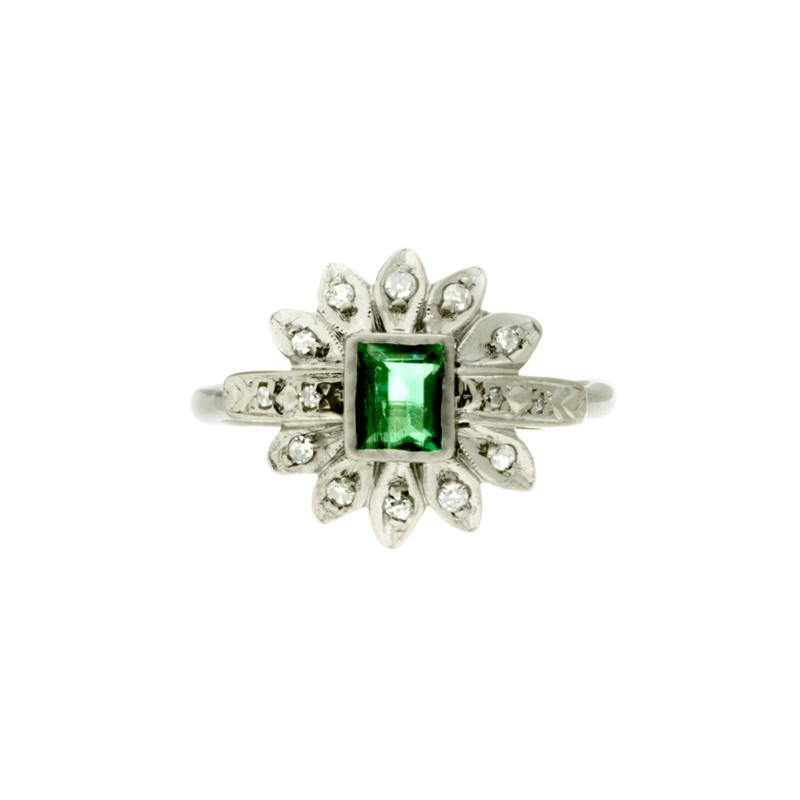 Fashion Ring - Emerald & Diamond Ring 1/2 carat emerald  22 karat white