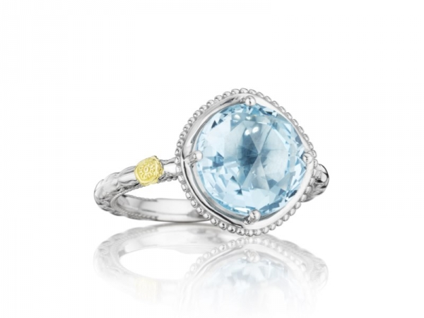 Fashion Ring - Tacori: Sky Blue Topaz Ring Large Stackable 10mm 4.8 ct 18K 925