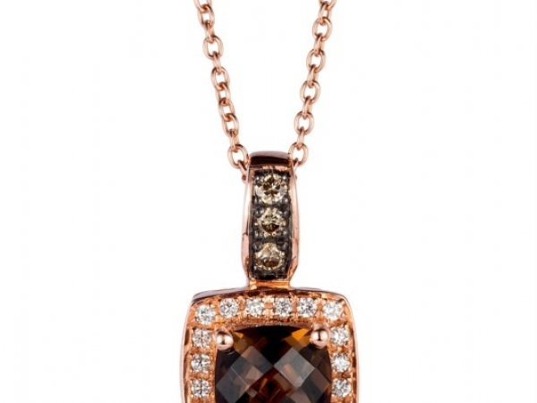 Pendants - LeVian Chocolate Quartz & Chocolate Diamond Pendant 14 karat rose gold