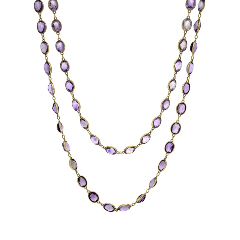 Necklace - Amethyst Double Chain Necklace 62 grams 56 inches oval amethyst