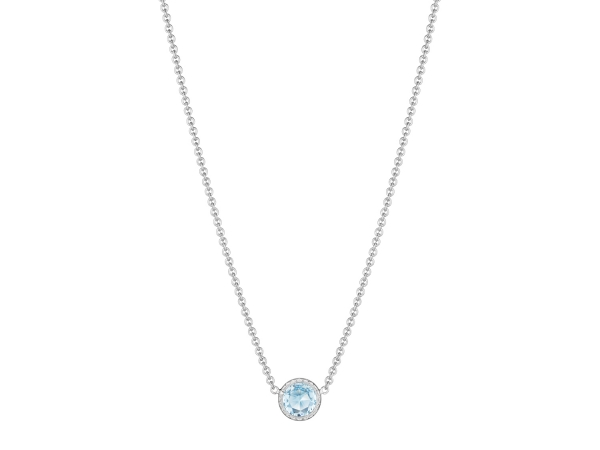 Necklace - Tacori: Blue Topaz Pendant 7mm 1.65 ct 18K 925