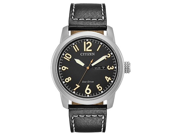 Watch - Mens EZ Read Black Leather Eco Drive
