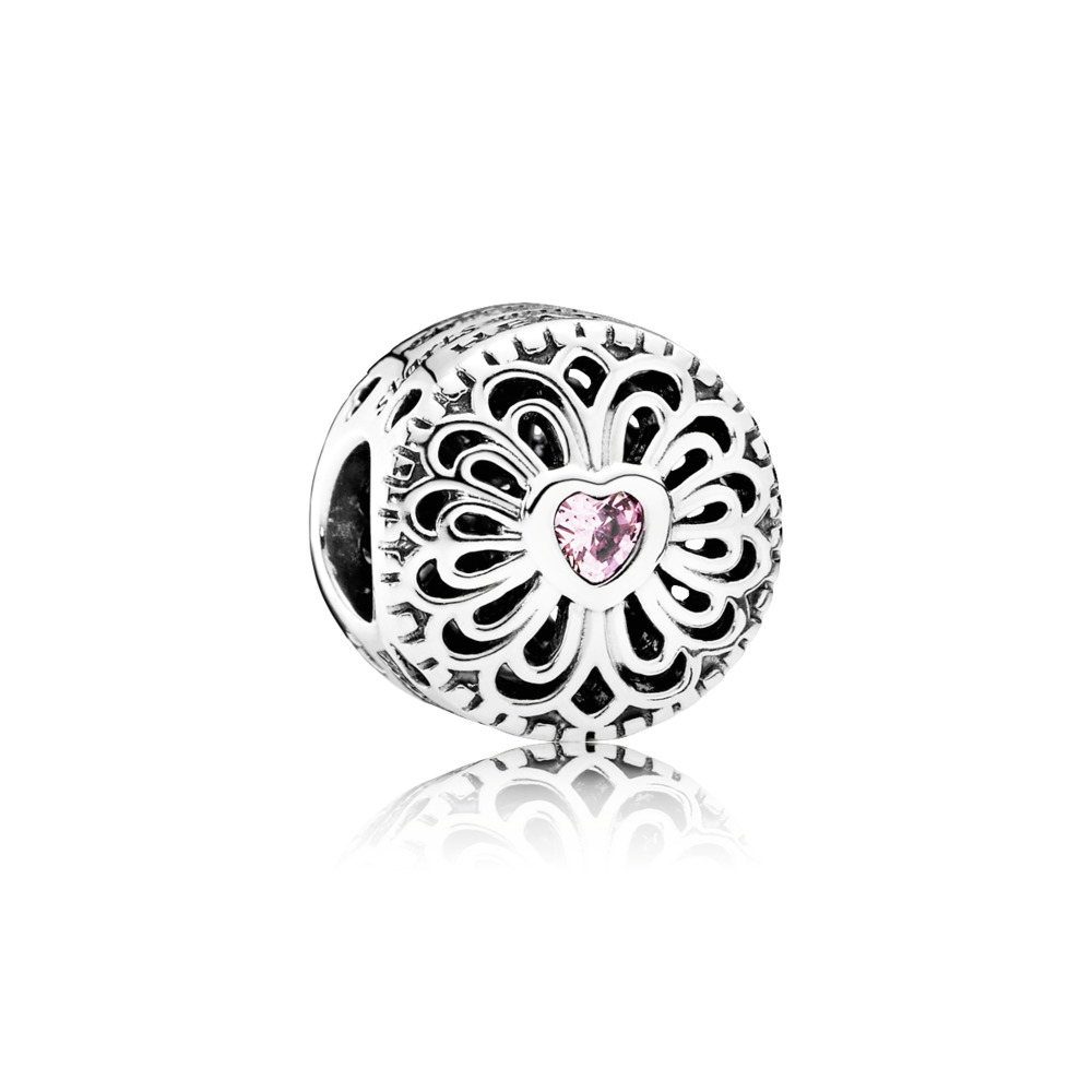 Pandora - Charm Love & Friendship with Heart Shaped Pink Cubic Zirconia