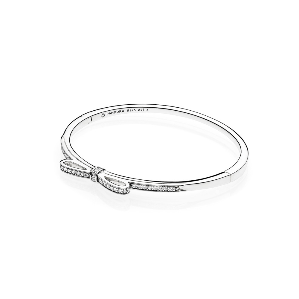 Pandora - Hinged Bangle Sparkling Bow with Clear Cubic Zirconia
