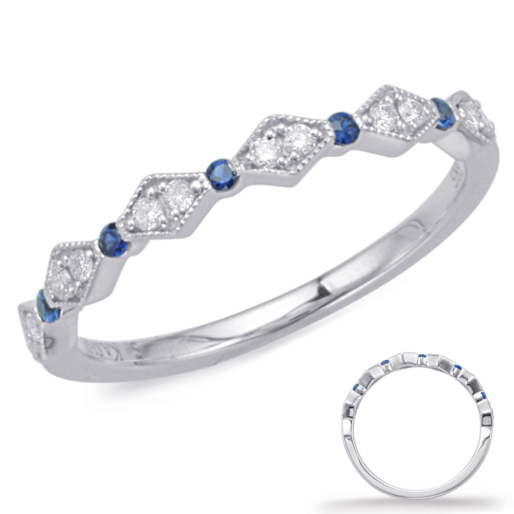 Wedding Band - New Piece! S. Kashi .10ctw diamond and .07ctw sapphire band in 14kw gold. Size 6.25.