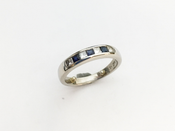 Anniversary Ring - Estate piece! .25ctw diamond and .21ctw sapphire channel set band in platinum, size 6.