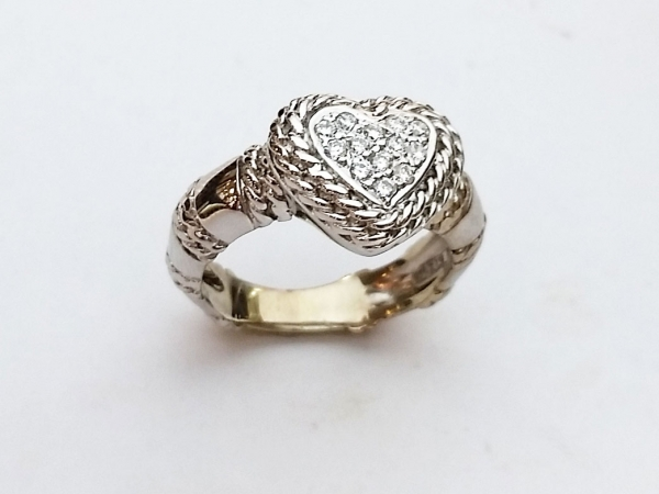 Fashion Ring - Estate Cassis designer piece!  .25ctw diamond heart Cassis ring. This ring can be sized, please call for pricing.