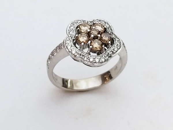 Fashion Ring - Estate Piece! Lady's 14Kwg 0.5Cctw Brown Diamonds w/ 0.87Ctw Fashion Ring Size 6.5. This ring can be sized, please call for pricing.