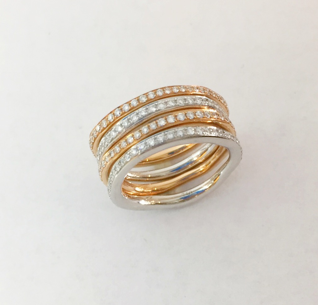Fashion Ring - Estate Piece!  2ctw 18k rose gold and white gold eternity band set of 4.  Size 6.