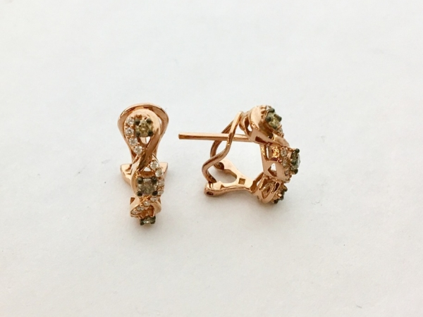 Earrings - Estate Piece with tags!  Never been worn .40ctw Le Vian 14k rose gold 1/2 inch hoop.  Tag price $2,750.