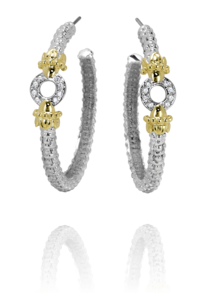 Earrings - New Piece! Alwand Vahan sterling silver and 14ky gold hoops with .12ctw diamonds.