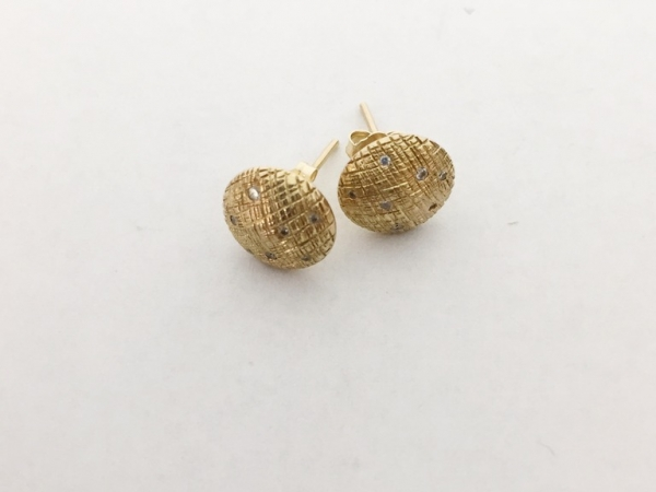 Earrings - New piece! Nina Nguyen 10mm 18ky gold cross hatched studs with diamonds