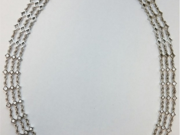 Necklace - Estate piece! 2ctw G-H color VS2 clarity diamond necklace in 63grams of 14kw gold, 16 inches.