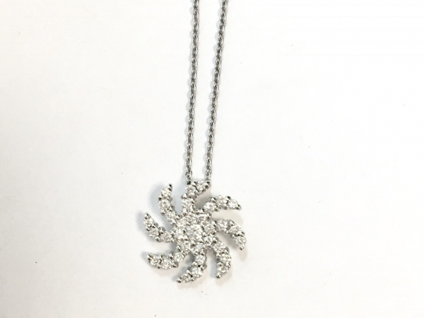 Necklace - Estate piece! Roberto Coin 10.5mm diamond swirl pendant on a 18 or 16 inch chain, 18k white gold.