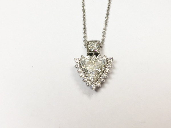 Necklace - New piece! 1.40ct GIA certified I color SI2 clarity trillion accented with .73ctw of diamonds in 18kw gold, 16 inch.