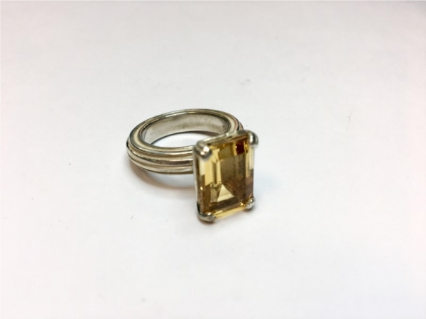 Fashion Ring - Estate piece! Slane large calypso citrine ring in sterling silver, size 8.