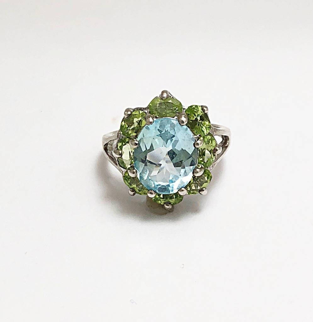 Fashion Ring - Estate piece! 11x9mm blue topaz and peridot ring in sterling silver, size 8.