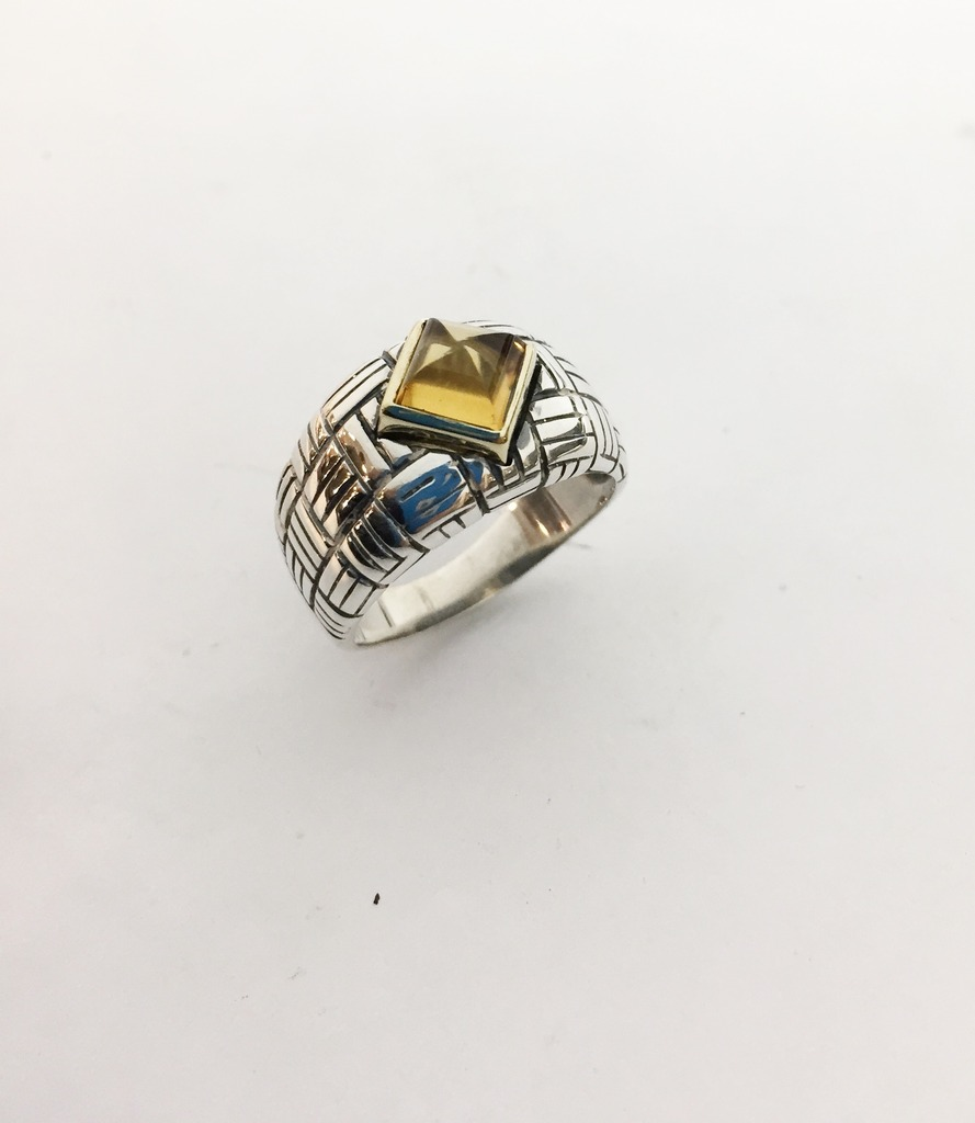 Fashion Ring - Estate piece! Citrine ring in sterling silver and 18ky gold, size 9.