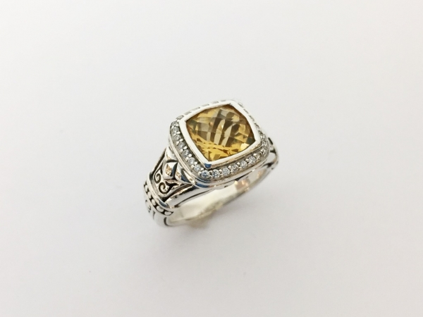 Fashion Ring - Estate piece! Scott Kay 8x8mm citrine with a diamond halo set in sterling silver, size 5.