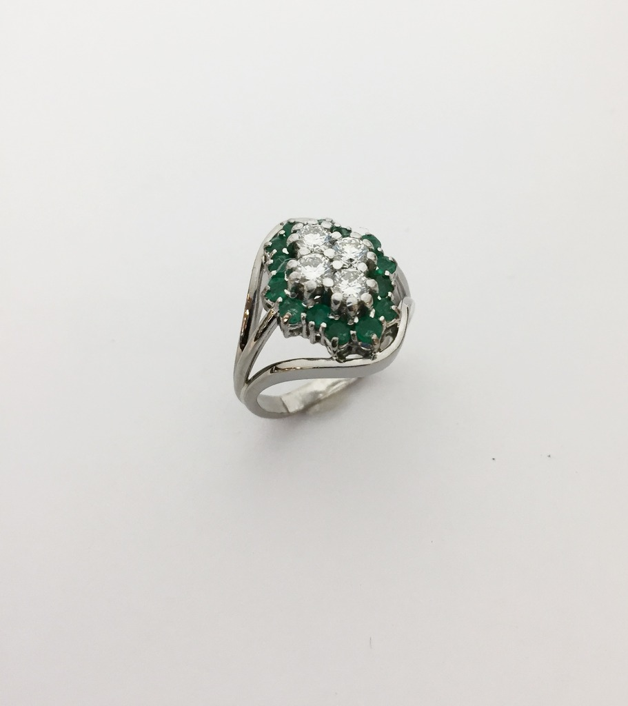 Fashion Ring - Estate Piece! .65ctw diamond cluster 3.5mm four diamonds accented by 1ctw emerald rounds set into 18kw gold European shank ring.