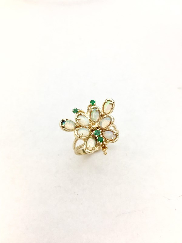 Fashion Ring - Estate Piece!  Opal and emeralds set into a handmade butterfly 14ky gold ring size 8.5.