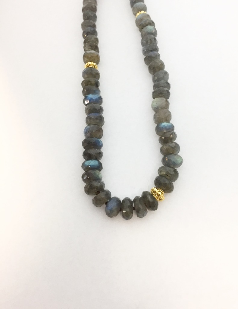 Necklace - New piece! Nina Nguyen 10 to7 mm graduated labradorite beads with 22ky gold plated sterling accents, 36 inch.