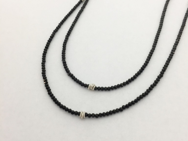 Necklace - New piece! Nina Nguyen 2mm faceted black spinel necklace with sterling silver accents, 35-39 inches.