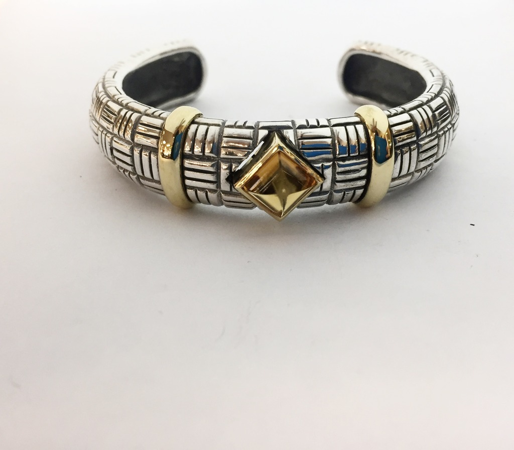 Bracelet - Estate piece! Sterling silver and citrine 14mm cuff with 18ky gold accents.