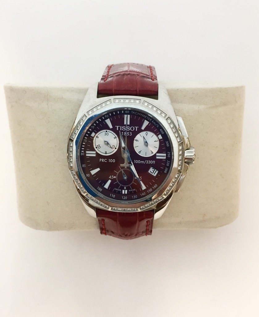 Watch - Estate piece! Tissot red dial and diamond bezel watch on a red leather band.