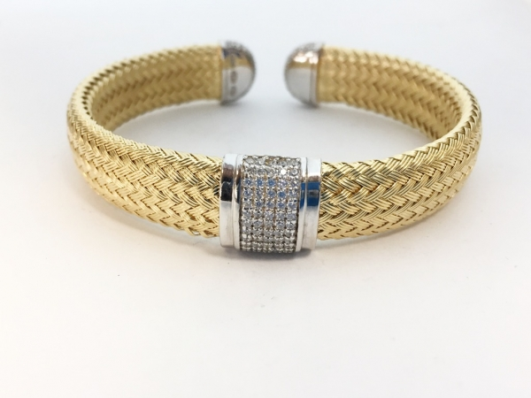 Bracelet - New piece! Charles Garnier sterling silver cuff with an 18ky gold plate and CZs.