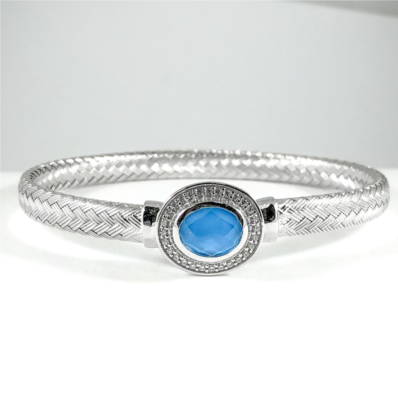 Bracelet - New piece! Charles Garnier sterling silver cuff with a turqoise and quartz doublet with a CZ halo.