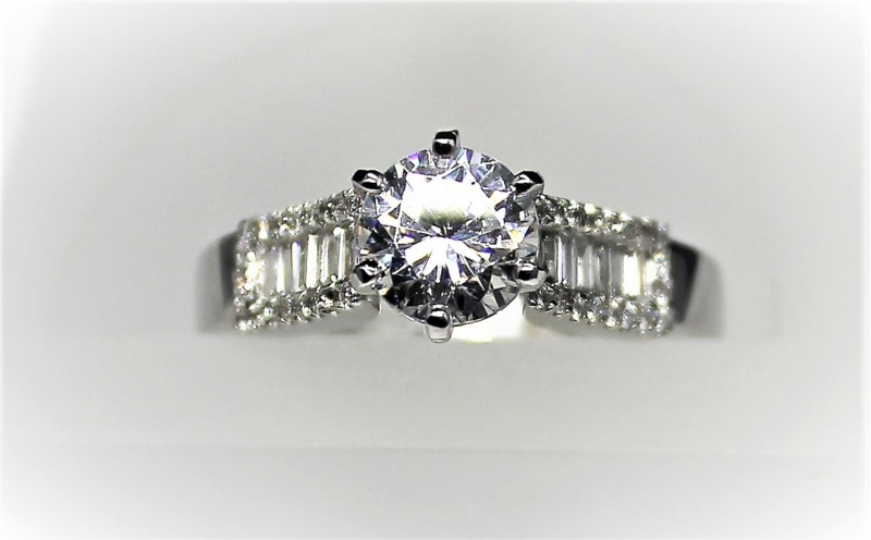 Diamond Semi-Mount Engagement Ring - Ladies diamond semi-mount engagement ring;  .25 ct tw round brilliant and baguette diamonds