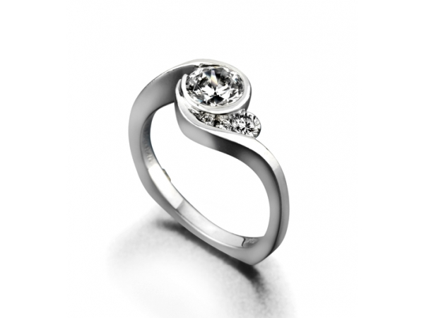 Escape by Mark Schneider - Escape by Mark Schneider - The Escape engagement ring contains 4 diamonds, totaling 0.12ctw. Center stone sold separately, not included in price.